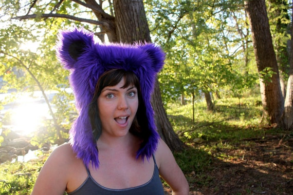 Purple Furry Bear Hat - Grateful Dead Dancing Bear