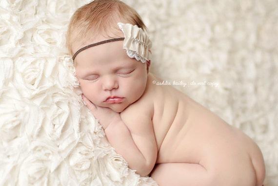 CREAM LACE RUFFLE baby headband. Newborn - Adult sizes available. newborn baby photography prop