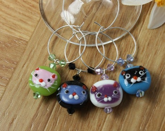 4 Kitty Lovers Wine Charms