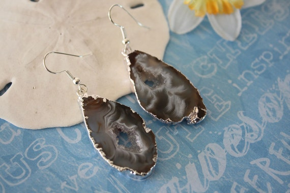 Geode Earrings Agate Slice Druzy Silver 13