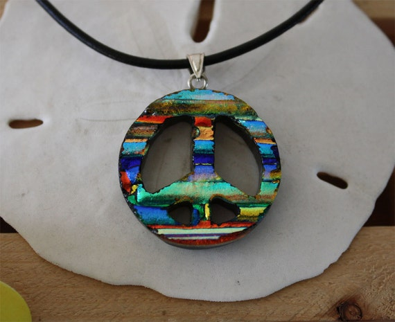 Peace Sign Dichoric Glass Sterling Silver Necklace