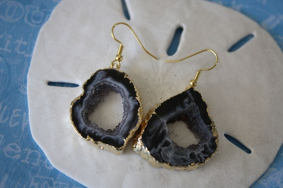 Geode Earrings, Agate Slice Druzy Gold 4