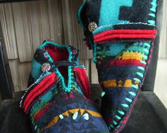 Turquoise in My Pocket - Felted Blanket Wool/ Wool Lined / Sheepskin & Leather Soles Moccasins / Slippers - Women's Sizes