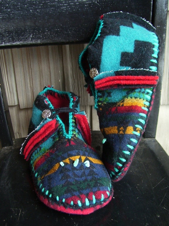 Turquoise in My Pocket - Felted Blanket Wool/ Wool Lined / Sheepskin & Leather Soles Moccasins / Slippers - Women's or Men's Sizes