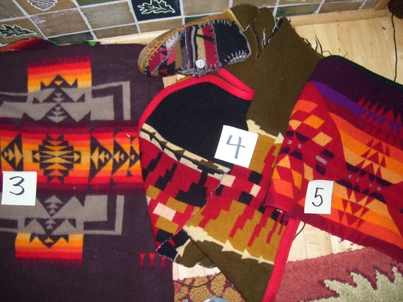 FOR MITZI - Western Sky Evening Rainbow - Felted Pendleton Blanket/ Wool Lined / Sheepskin/Leather  Moccasins / Slippers - Made  to Order