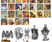 Happy Halloween - Digital Collage Sheet - 1x1 inch squares Great for Scrabble Tile Pendants - Buy 2 Get One FREE