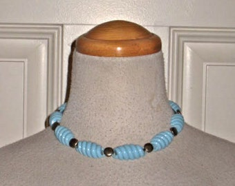 Vintage 50s PALE BLUE Choker WAVE  Necklace Lucite 1950s