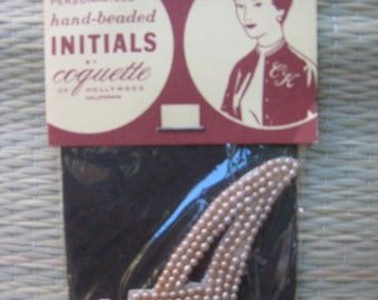 50s Imitation PEARL Sew On Applique INITIAL  A  1950s Dead Stock New Old  Japan