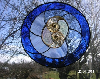 Two Center Sliced Nautilus Shells in Blue Stained Glass