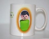 Little People Green Dark Haired Father, Dad, Fathers Day coffee mug, 11 oz, birthdays
