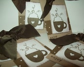 6 Holiday Hot chocolate Gift Tags - HandMade