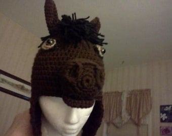 Horse Hat with standard mane, earflaps & braids