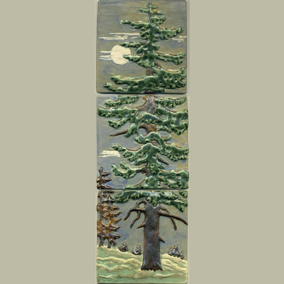 Craftsman Style Fir Tree Triptych Tile Set By Ravenstonetiles