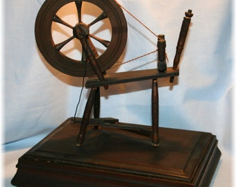Antique Vintage Small Wooden Spinning Wheel w treddle operational Treasure Jewelry Box
