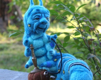 The Who R U ? Blue Caterpillar in Alice's Wonderland w his Hookah OOAK Needle felted Artist Doll by Stevi T.