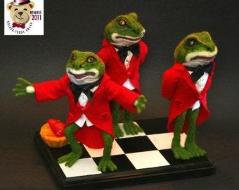 "Limited Orders 2011 Golden Teddy Award Nominee Wonderland Red Queen Frog Footman 'Did You eat My Tart"" OOAK Alpaca Needle Felt"