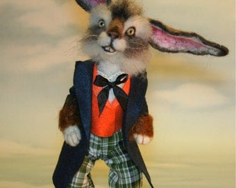 2013 TOBY Award Wonderland The March Hare Rabbit  Needle felted Storybook OOAK Doll