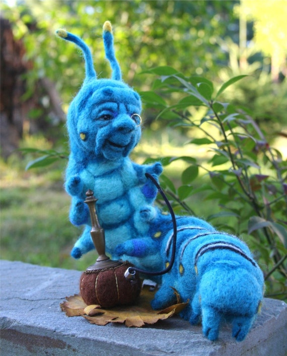 Reserve Melissa Bollman     The Blue Caterpillar in Alice's Wonderland w his Hookah OOAK Needle felted Artist Doll by Stevi T.
