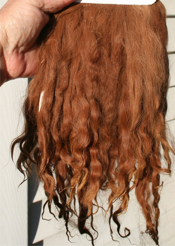 "Natural Suri Alpaca med  brown 7-8"" Locks Weft 36"" L Perfect for Doll Wig Making, Reborns, Rooting"