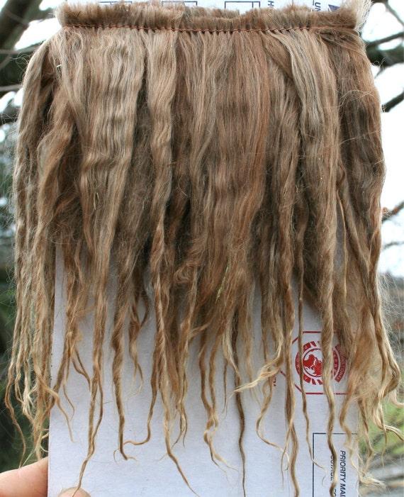 "Natural Suri Alpaca Rose gray 5-6"" Locks Weft 36"" L Perfect for Doll Wig Making, Reborns, Rooting"