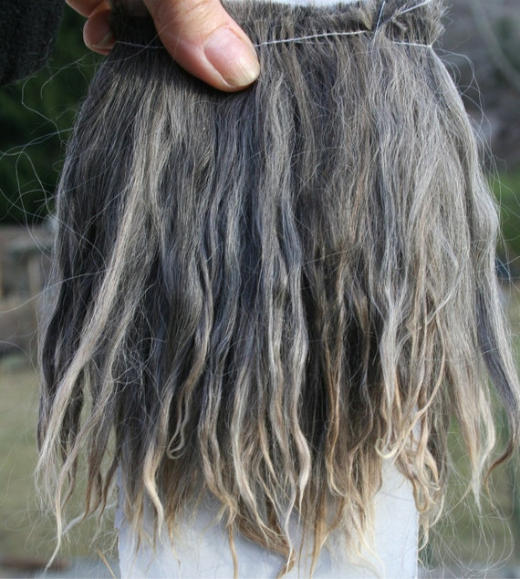 """Natural Suri Alpaca Gray with white tips 5-6"""" Locks Weft 36"""" L Perfect for Doll Wig Making, Reborns, Rooting"""