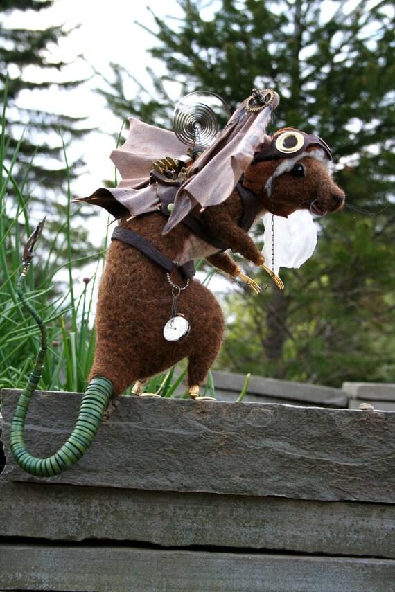 Flying  Steampunk Rat OOAK Artist Needle felt Sculpture by Stevi T. Introductory Price