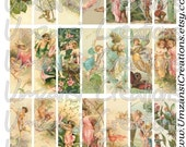 Vintage Fairies and Elves Images for Microscope Slides - Collage Sheet - Digital Download  - SIZE 1X3 (No. 109)