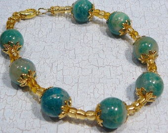 Turquoise Agate Gold Bracelet and matching Earrings