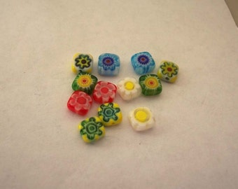 Multicolored Millefiori 6m................12 beads