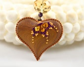 golden sunset - sparkling heart pendant
