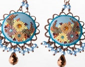 autumn leaves - ornate dangle earrings