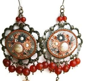 occident meets orient - long devine dangle earrings