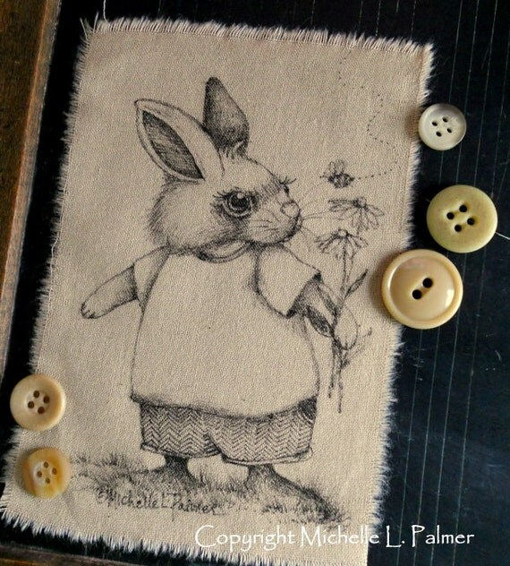 Original Pen and Ink Art Illustration on Tea Stained Muslin Fabric Garden Bunny Rabbit Bee Daisy