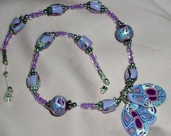Purple Cane Slice Necklace