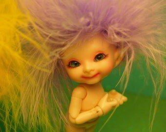 Lilac Love of the Amethyst Forest Fairy Realpuki Feather Headband Wig Size 3 Tiny BJD