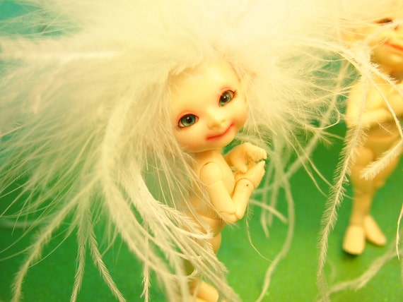 Sweet Angel of the Ancient Fae Forest Realpuki Feather Headband Wig Size 3 Tiny BJD