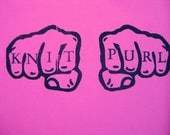 Knit Purl Knuckle Tattoos on Hot Pink Tote