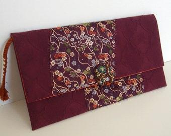 30% off  Japanese Vintage Kimono Envelope Clutch Bag T-31