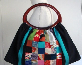 30% off  Japanese Kimono Patchwork Tote Bag With Acrylic Handles P-22