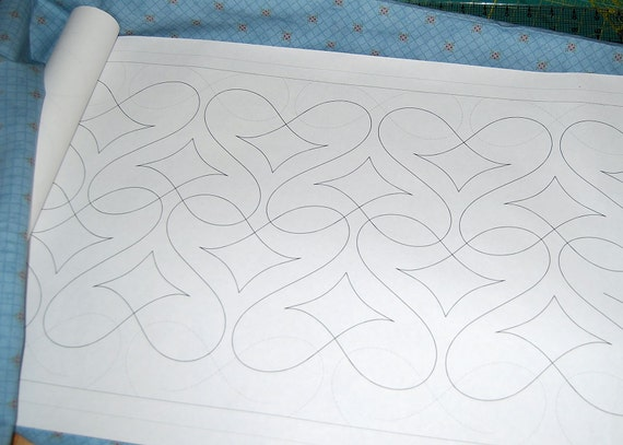 Continuous Line Machine Quilting Pattern Baroque Hearts
