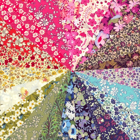 Liberty Rainbow2 Selection of 20 Gorgeous Liberty of London Fabric 5in Charm Squares