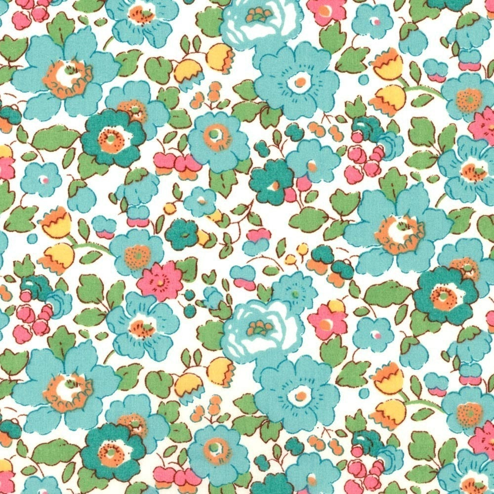 Liberty Tana Lawn Betsy Turquoise Fabric By