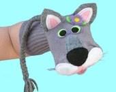 Handmade Toy Gray Cat Sock Puppet