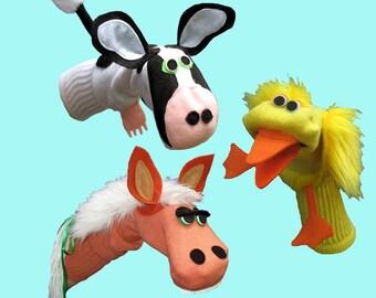 Handmade Farm Animal Sock Puppet Gift Set
