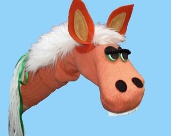 Handmade Sorrel Horse Sock Puppet