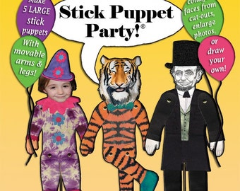 Stick Puppet craft activity. Birthday party crafts. Cooperative art project. Rainy day activity