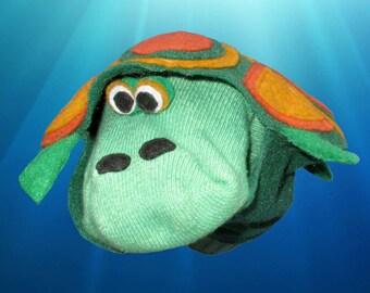 Handmade Toys. Fancy Turtle Sock Puppet