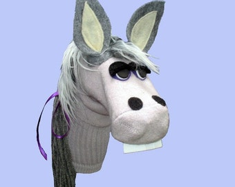 SALE Handmade Gray Donkey Sock Puppet