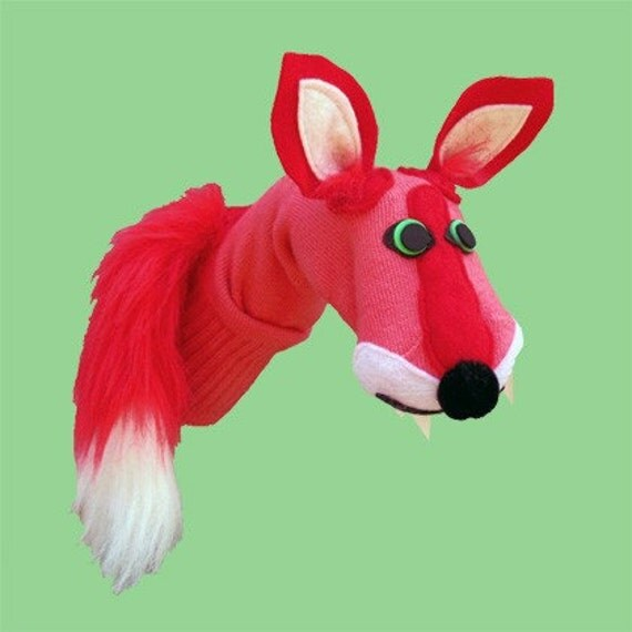 Gorgeous Red Fox Puppet. COUTURE Sock Puppets