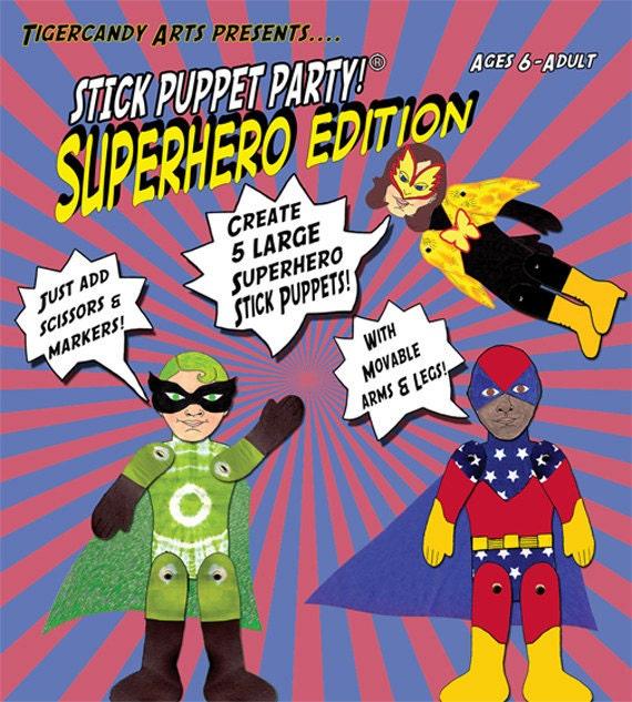 Superhero Stick Puppet Kit Party Craft Activity Puppet Making Project